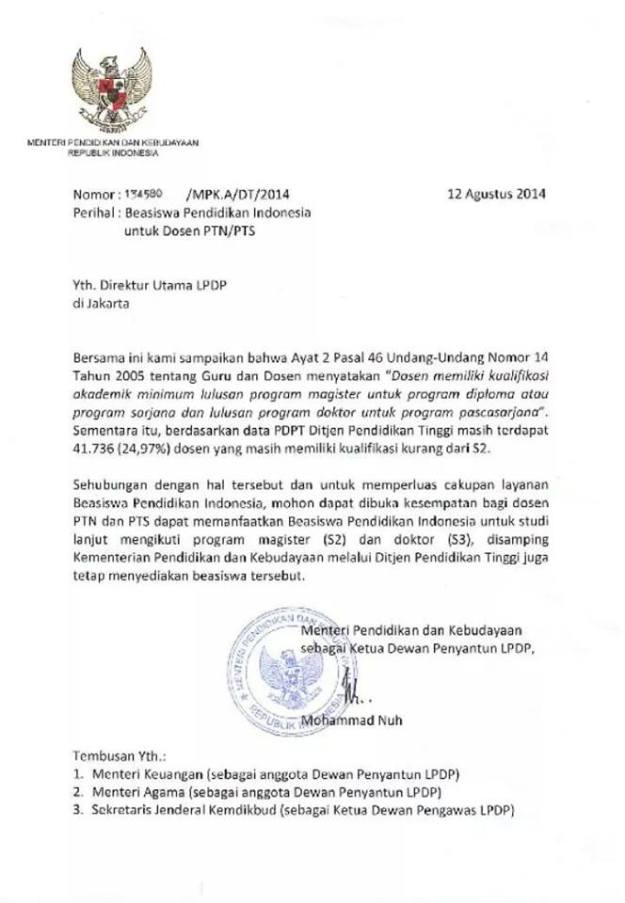 surat lpdp